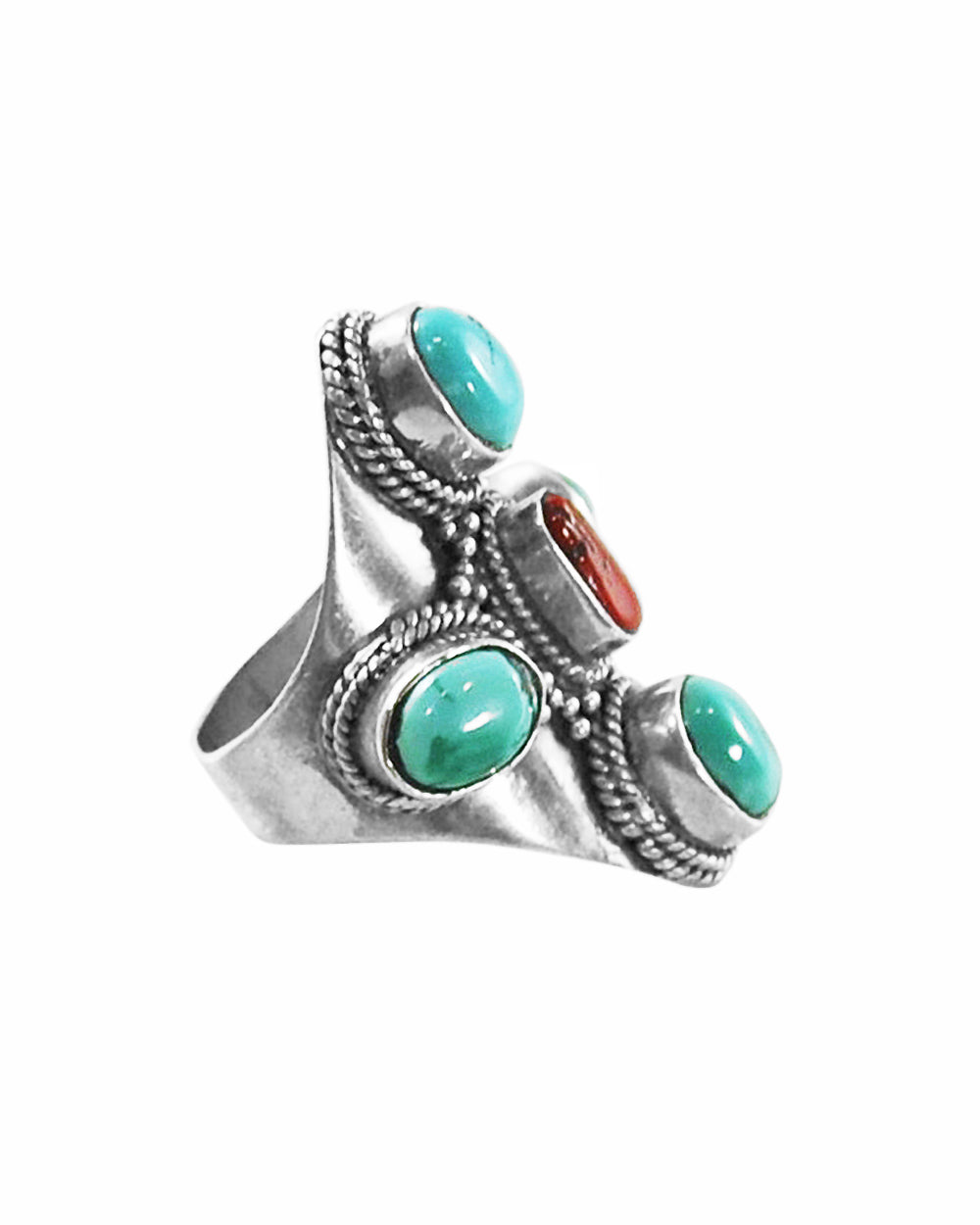 Turquoise and Coral Statement Ring Sterling Silver