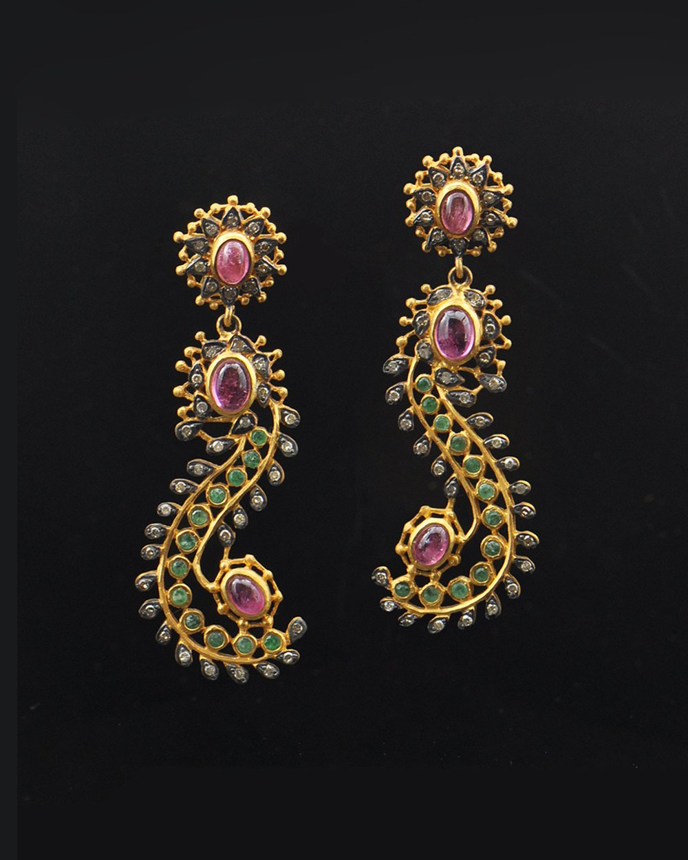 Mystical Diamonds, Emeralds and Tourmaline Earrings