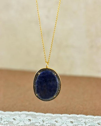 Vintage Oval Sapphire and Antique Cut Diamonds Pendant Necklace