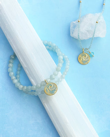 Water Elements Bracelet Set with Aquamarine in Gold Vermeil