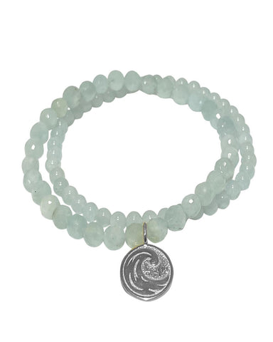 Water Elements Bracelet Set with Aquamarine in Sterling Silver