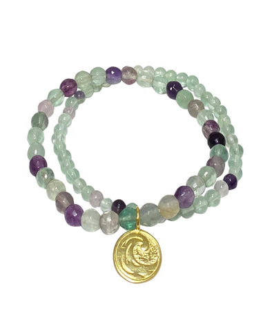 Water Elements Bracelet Set with Fluorite in Gold Vermeil