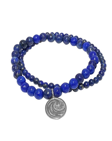 Water Elements Bracelet Set with Lapis in Sterling Silver