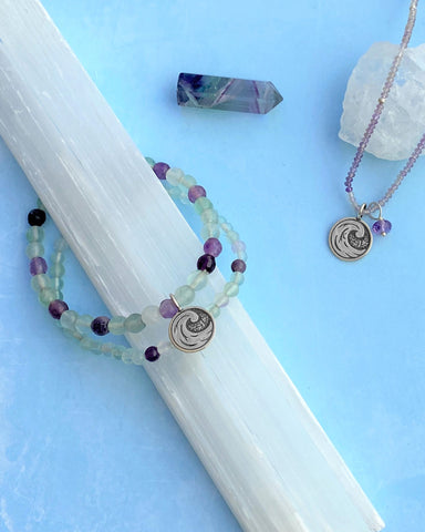Water Elements Bracelet Set with Fluorite in Sterling Silver