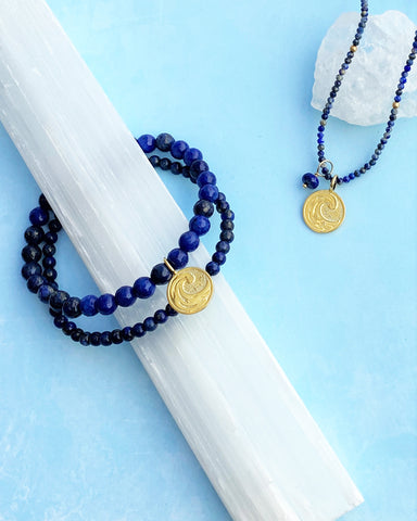 Water Elements Bracelet Set with Lapis in Gold Vermeil