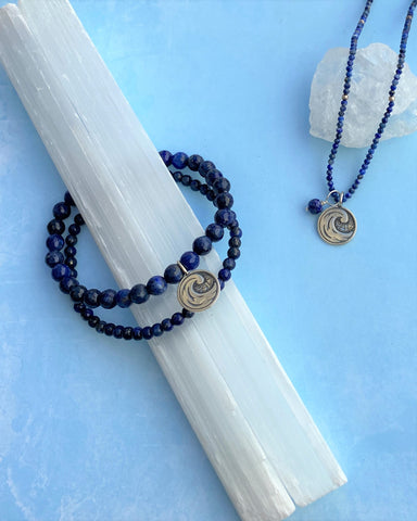 Water Elements Necklace with Lapis in Sterling Silver