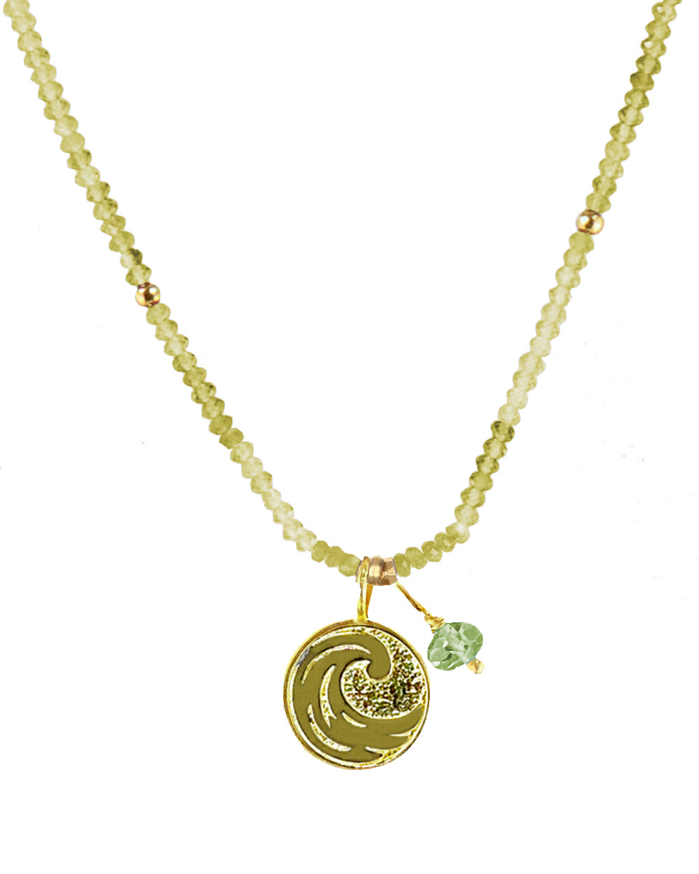 Water Elements Necklace with Green Fluorite in Gold Vermeil