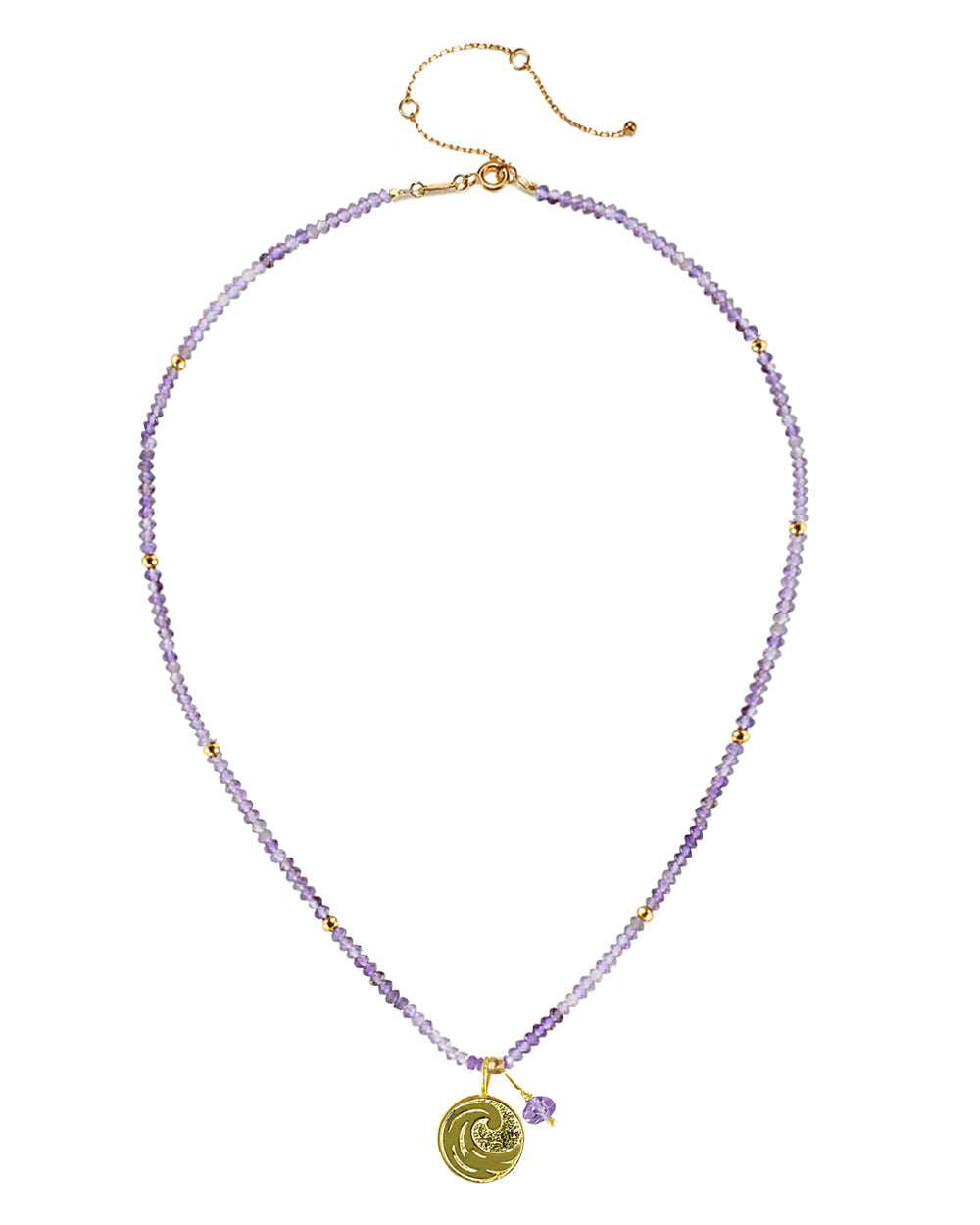 Water Elements Necklace with Purple Fluorite in Gold Vermeil