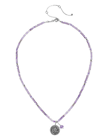 Water Elements Necklace with Purple Fluorite in Sterling Silver