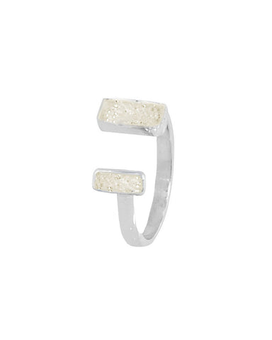 White Druzy Pinky Ring in Sterling Silver - Adjustable
