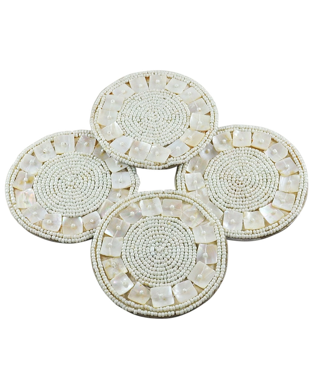 White MOP Beaded Coaster Set of 4