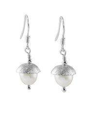 White Pearl Drop Earrings in Sterling Silver