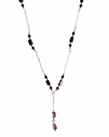 Willpower Tiger's Eye Sterling Silver Lariat Necklace