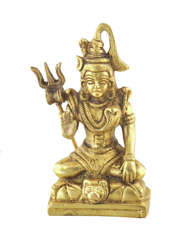 All Powerful Lord Shiva in Meditation Statue with Trident - Sivalya