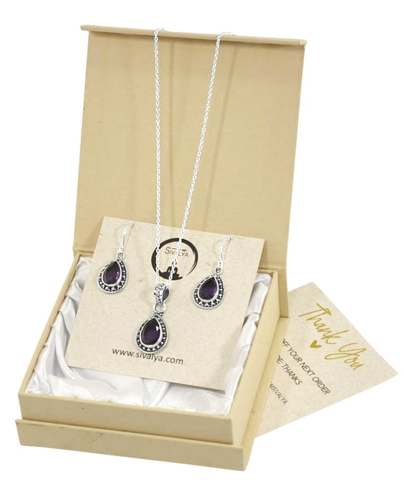 Amalfi Amethyst Necklace and Earrings Set in Sterling Silver