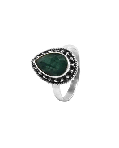 Amalfi Raw Emerald Sterling Silver Ring