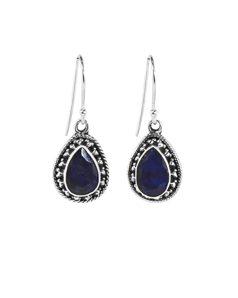 Amalfi Raw Sapphire Necklace and Earrings Set in Sterling Silver