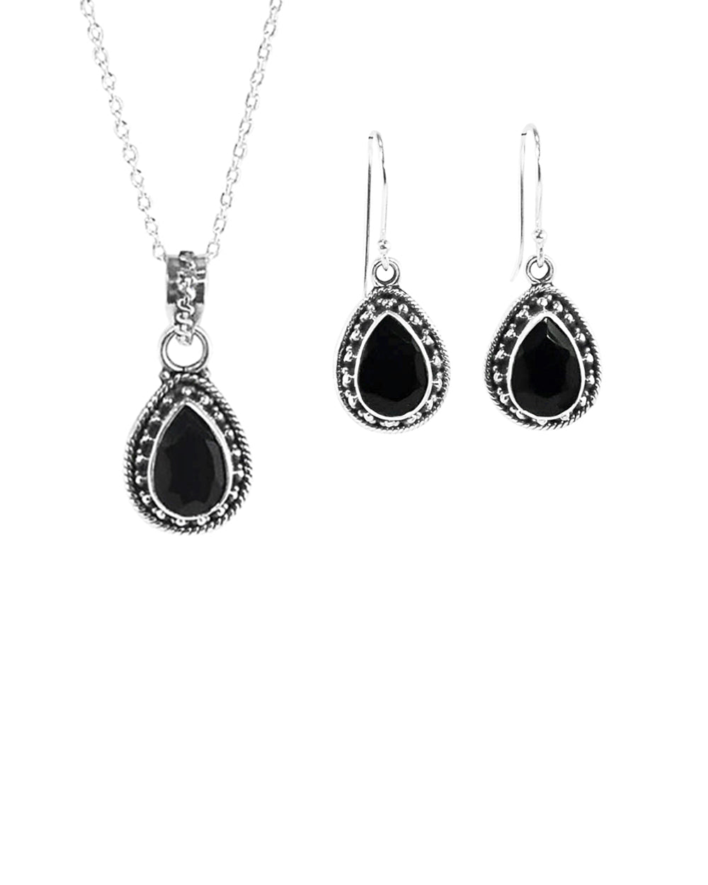Amalfi Black Onyx Necklace and Earrings Set in Sterling Silver