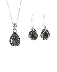 Amalfi Labradorite Necklace and Earrings Set in Sterling Silver