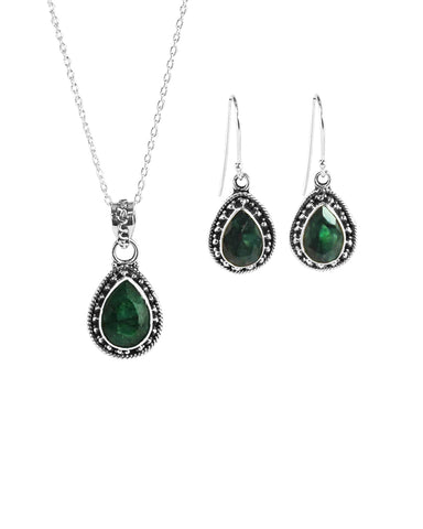 Amalfi Raw Emerald Necklace and Earrings Set in Sterling Silver