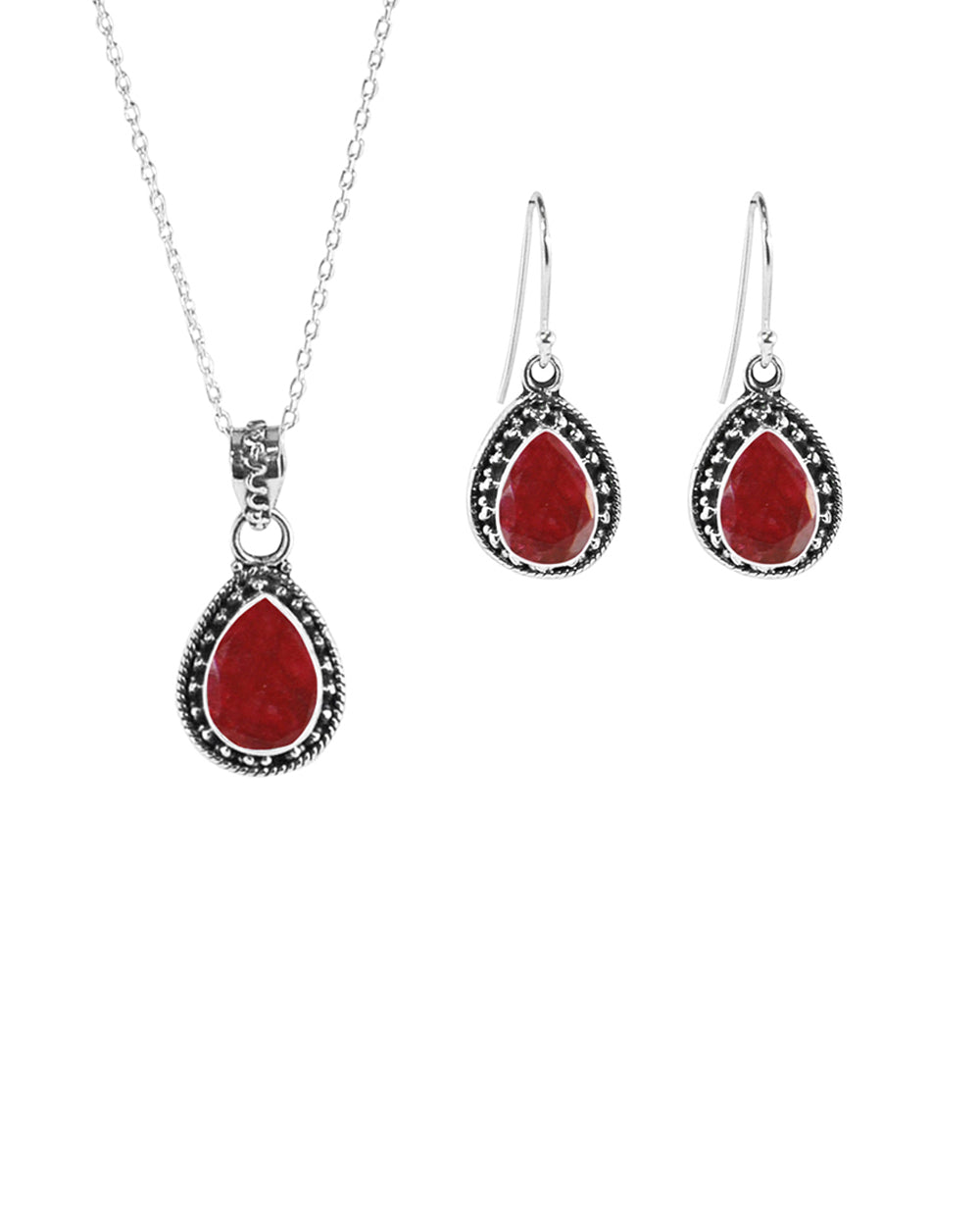 Amalfi Raw Ruby Necklace and Earrings Set in Sterling Silver