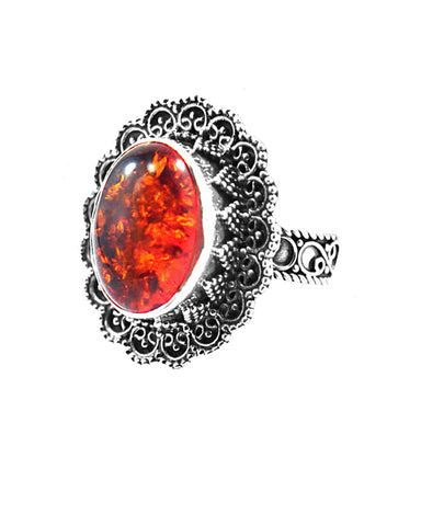 Baltic Amber Flower Sterling Silver Ring - Sivalya