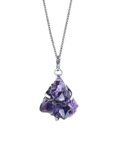 Amethyst Crystal Geode Pendant Necklace Sterling Silver