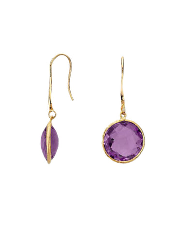Amethyst Round Gem Drop Earrings