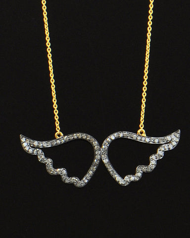 Angel Wings 1.12 Carat Natural Diamonds Necklace