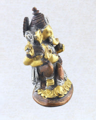 Antique Brass and Copper Ganesh Prosperity Statue