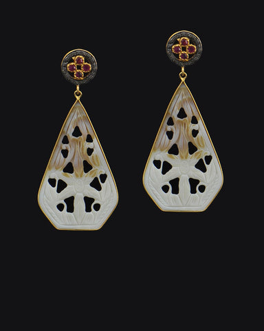 Vintage Carved Mother of Pearl and Diamonds Earrings