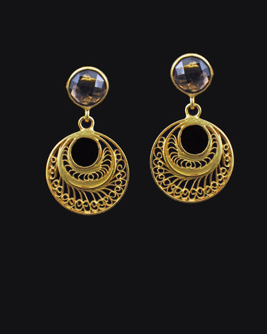 Pretty Hand-carved Earrings in Gold Vermeil