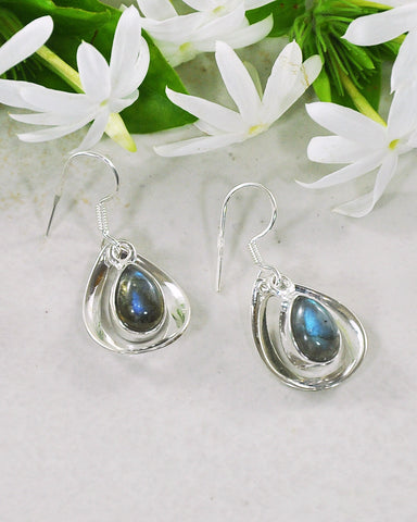 Aura Labradorite 925 Sterling Silver Dangle Earrings