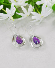 Aura Purple Turquoise 925 Sterling Silver Dangle Earrings