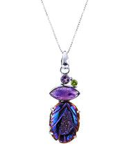 Carved Rainbow Aura Druzy Sterling Silver Pendant Necklace