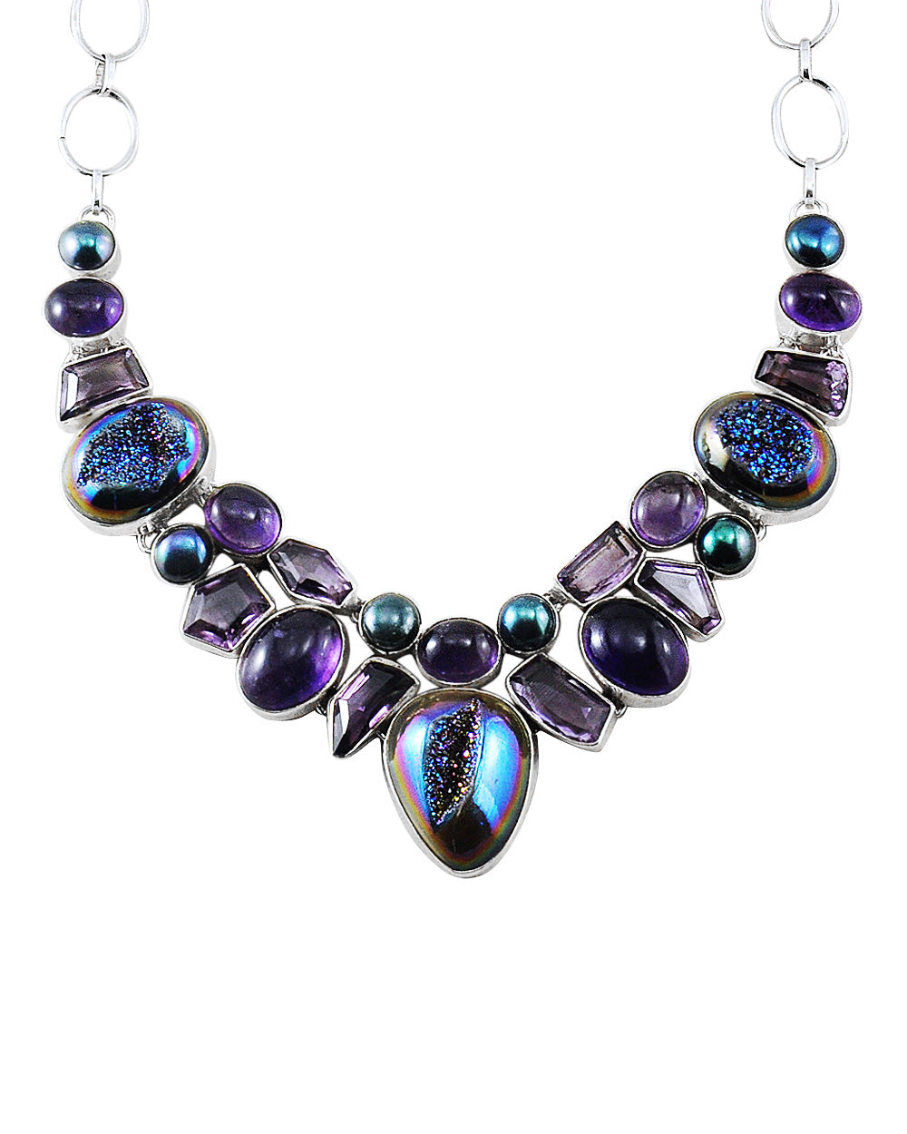 Aura Rainbow Druzy and Amethyst Sterling Silver Necklace
