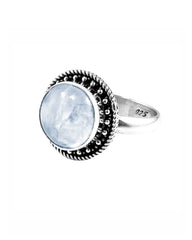 Aurora Moonstone Ring in Sterling Silver