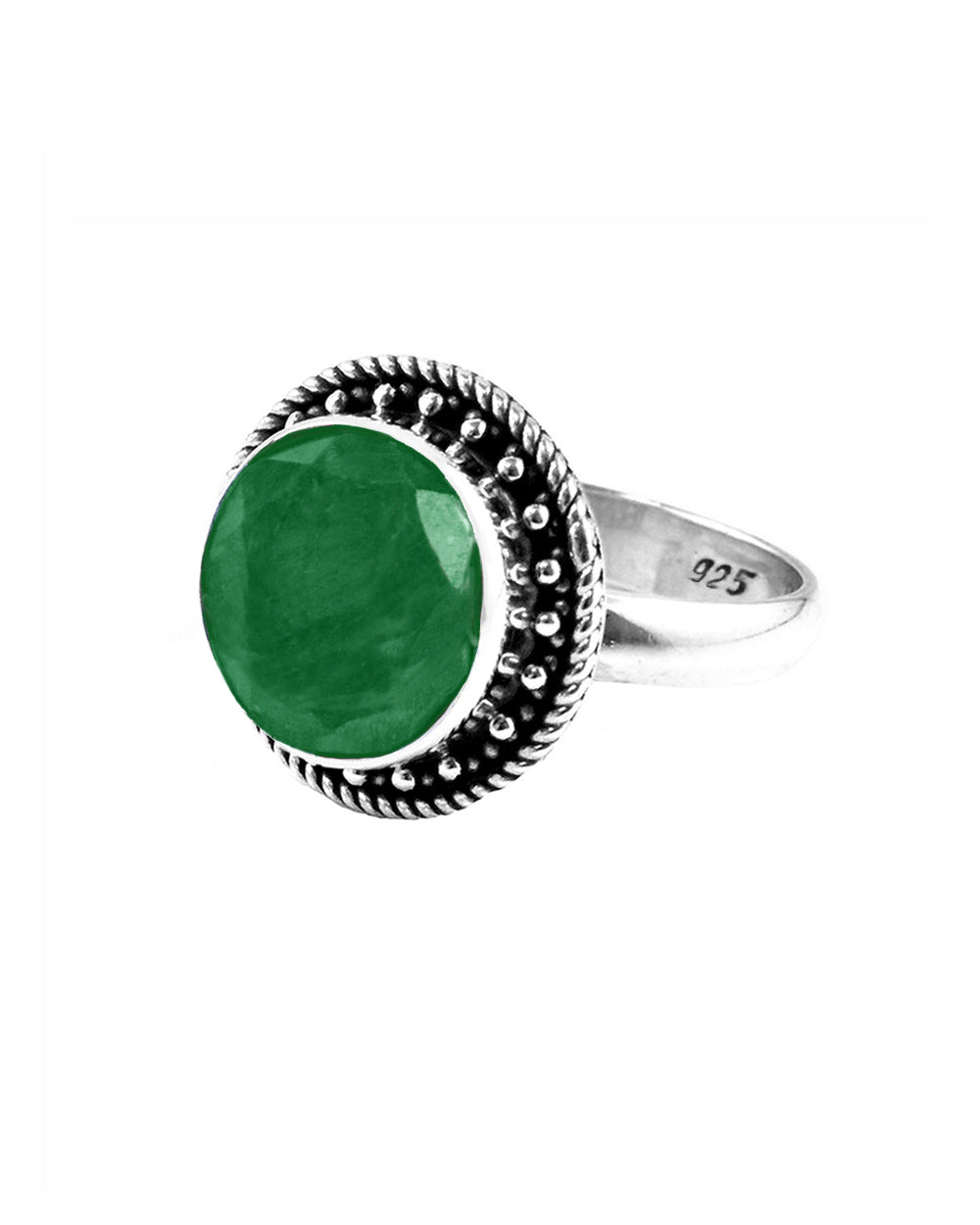 Aurora Raw Emerald Ring in Sterling Silver