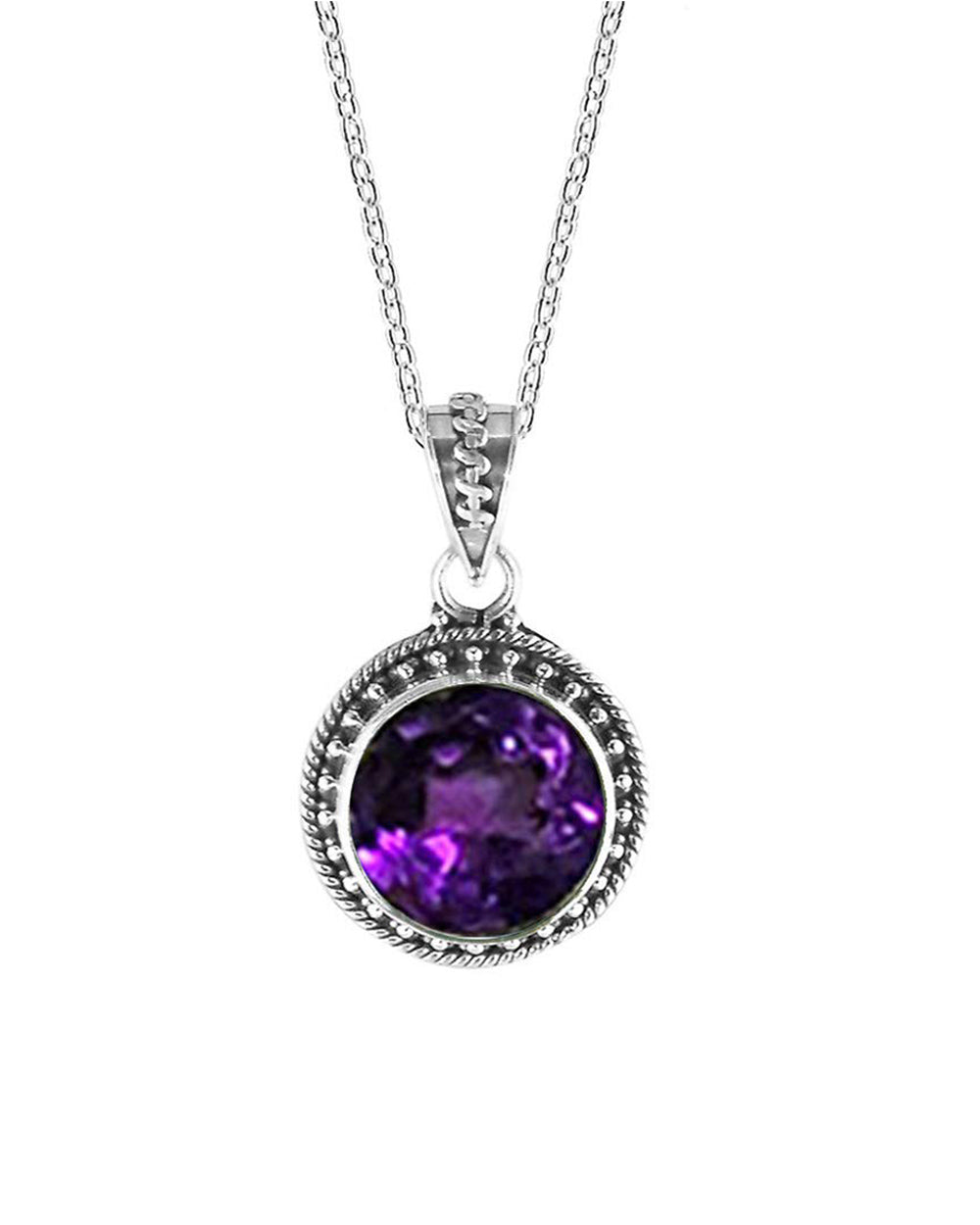 Aurora Amethyst Necklace and Earrings Jewelry Set in Sterling Silver