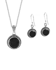 Aurora Black Onyx Necklace and Earrings Jewelry Set in Sterling Silver