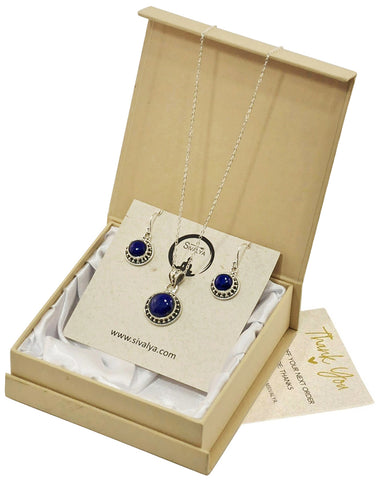 Aurora Lapis Lazuli Necklace and Earrings Jewelry Set in Sterling Silver