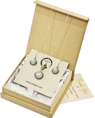 Aurora Moonstone Necklace and Earrings Jewelry Set in Sterling Silver