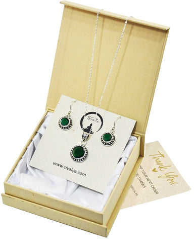 Aurora Raw Emerald Necklace and Earrings Jewelry Set in Sterling Silver