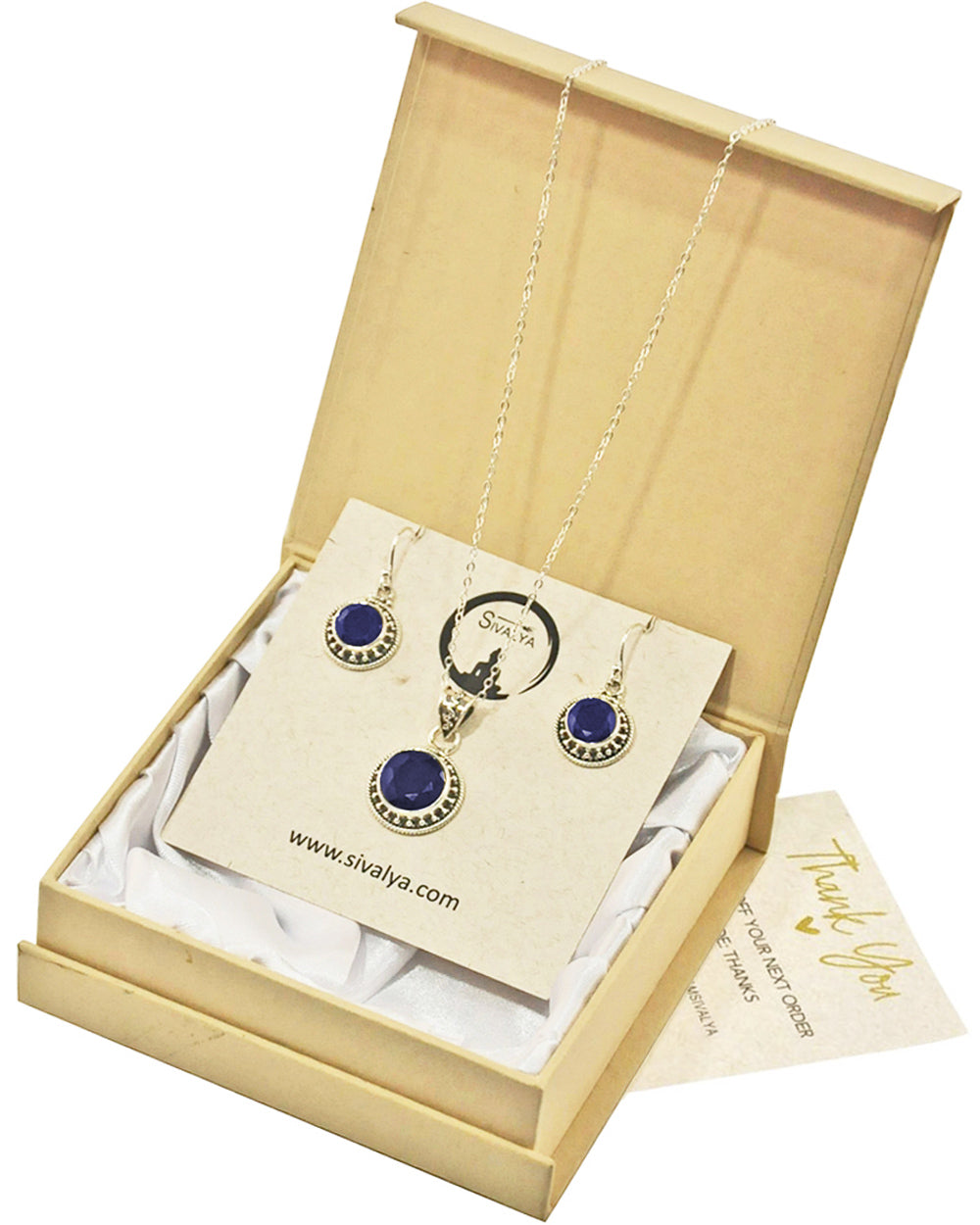 Aurora Raw Sapphire Necklace and Earrings Jewelry Set in Sterling Silver
