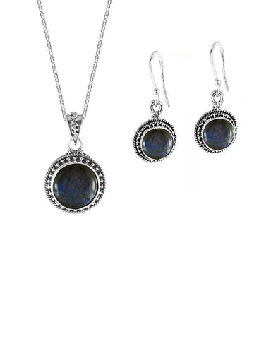 Aurora Labradorite Necklace and Earrings Jewelry Set in Sterling Silver