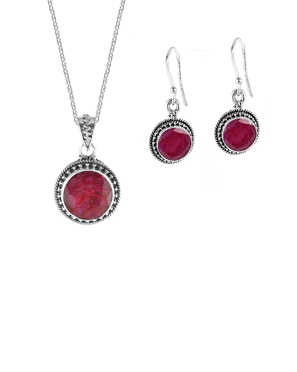 Aurora Raw Ruby Necklace and Earrings Jewelry Set in Sterling Silver