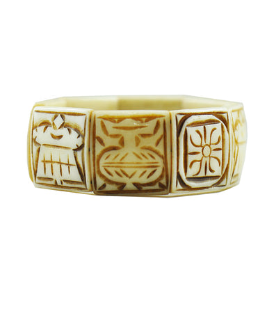 Buddhist 8 Auspicious Symbols Yak Bone Bracelet for Men White