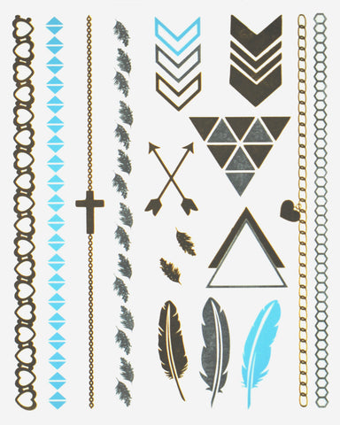 Beach Babe Blue and Gold Body Art Metallic Flash Tattoo - Silver Trendz