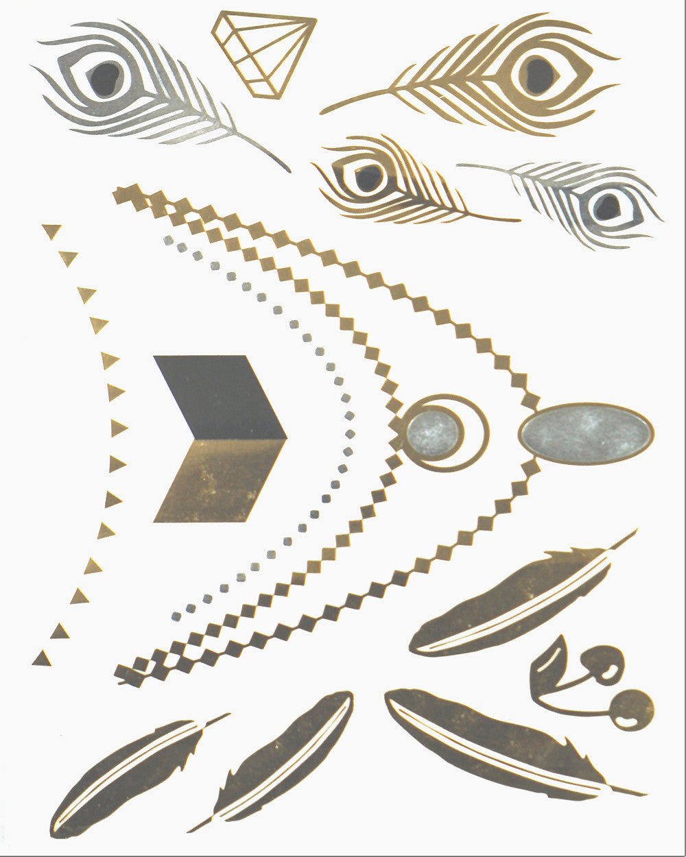 Birds of Feather Pack Metallic Flash Tattoo - Silver Trendz
