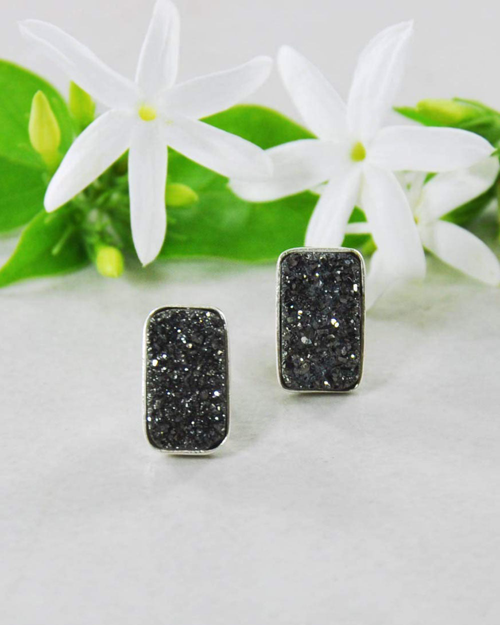 Black Druzy Bar Stud Earrings in 925 Sterling Silver